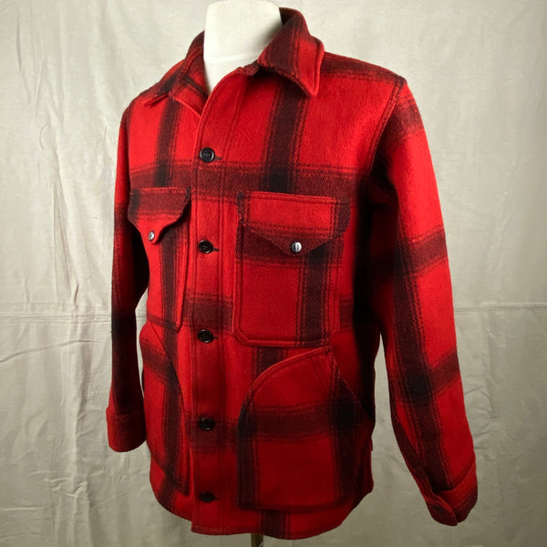 Left Angle View of Vintage Union Made 75% Red Filson Hunter Wool Coat Style 85