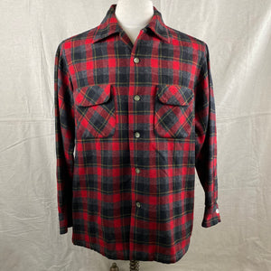 Front View of Vintage 50s/60s Era Red and Black Pendleton Board Shirt SZ M