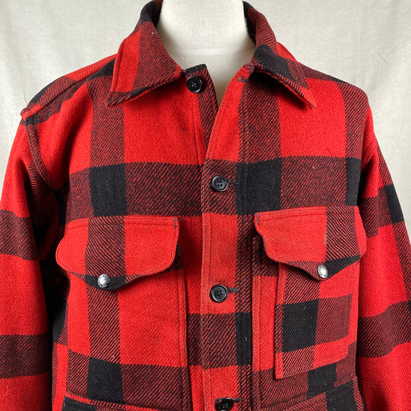 Upper Chest View of Vintage Union Made Filson Wool All Use Coat Wool Mackinaw