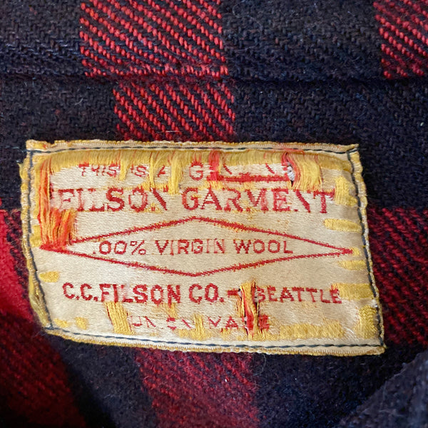 Tag View on Vintage 40's/50's Era Union Made Filson Wool Mackinaw