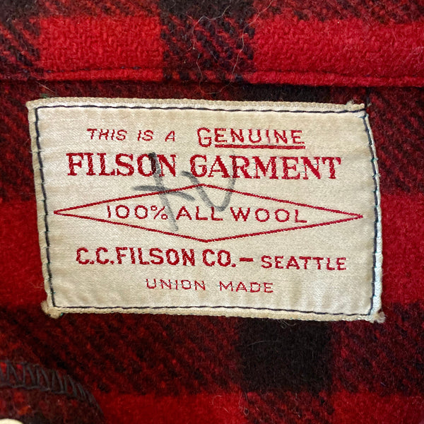 Tag View on Vintage Union Made Filson Red and Black Buffalo Plaid Mackinaw Cruiser