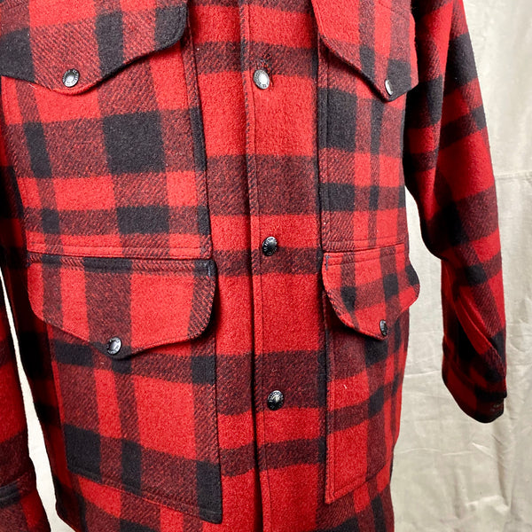 Front Chest View on Vintage Union Made Filson Red and Black Buffalo Plaid Mackinaw Cruiser