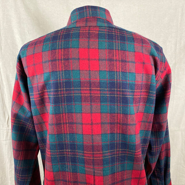 Upper Rear View on Vintage Red Blue & Green Pendleton Lodge Shirt SZ L