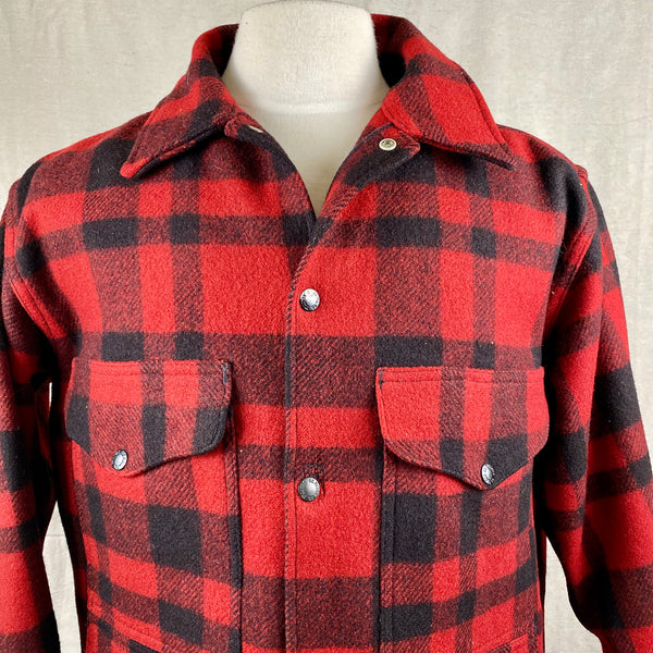 Upper Chest View on Vintage Union Made Filson Red and Black Buffalo Plaid Mackinaw Cruiser