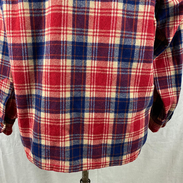 Lower Rear View on Vintage Red & Blue Pendleton Board Shirt SZ L