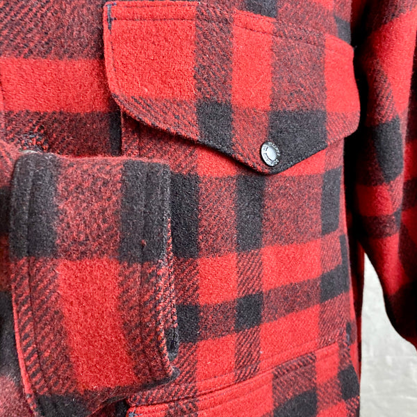 Right Cuff View on Vintage Union Made Filson Red and Black Buffalo Plaid Mackinaw Cruiser