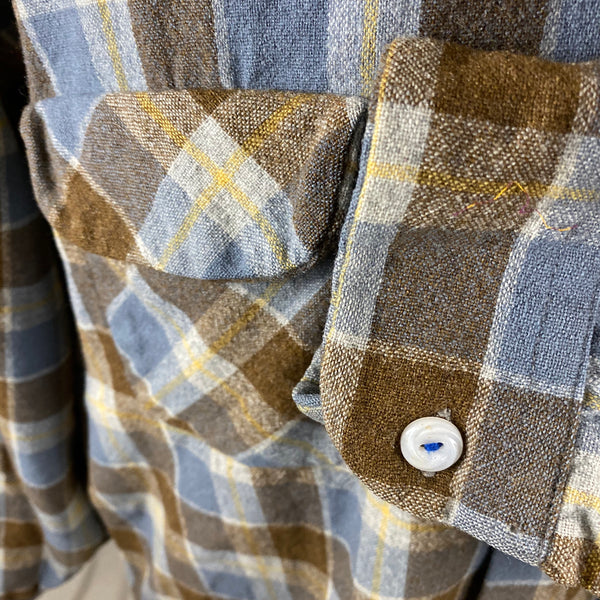 Left Cuff View on Vintage Blue & Grey Pendleton Board Shirt SZ XL