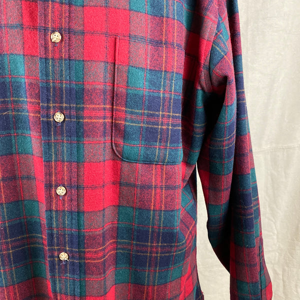 Pocket View on Vintage Red Blue & Green Pendleton Lodge Shirt SZ L