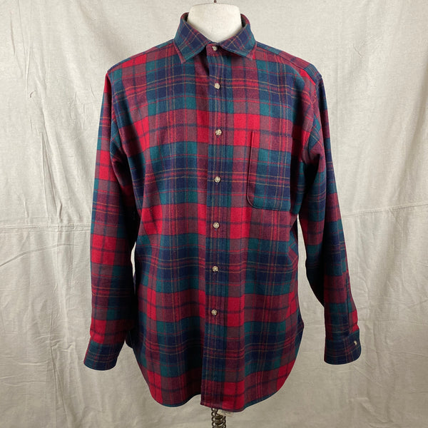 Front View on Vintage Red Blue & Green Pendleton Lodge Shirt SZ L