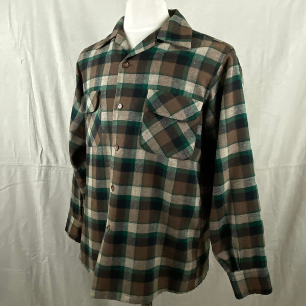 Left Angle View on Vintage Green & Brown Pendleton Board Shirt SZ M