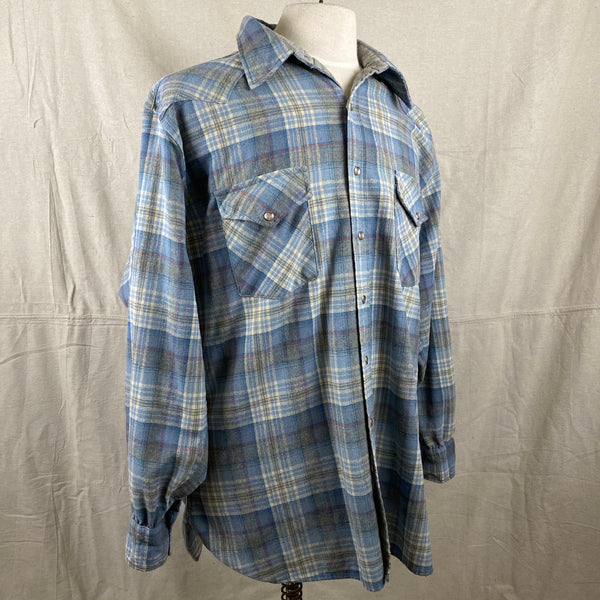 Right Angle View on Vintage Pendleton Blue Plaid High Grade Western Wear Flannel Shirt SZ XL