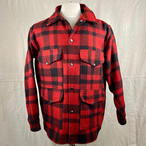 Front View on Vintage Union Made Filson Red and Black Buffalo Plaid Mackinaw Cruiser