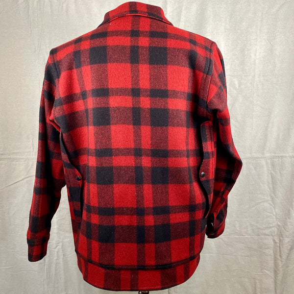 Rear View on Vintage Union Made Filson Red and Black Buffalo Plaid Mackinaw Cruiser