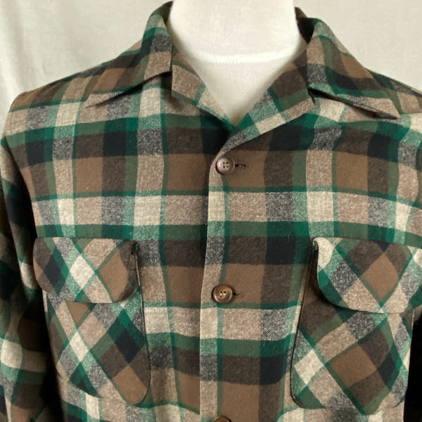 Upper Chest View on Vintage Green & Brown Pendleton Board Shirt SZ M