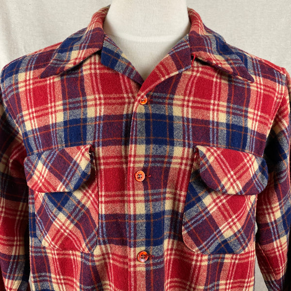 Upper Chest View on Vintage Red & Blue Pendleton Board Shirt SZ L