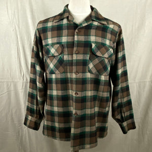 Front View of Vintage Green & Brown Pendleton Board Shirt SZ M