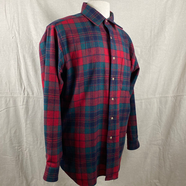 Right Angle View on Vintage Red Blue & Green Pendleton Lodge Shirt SZ L
