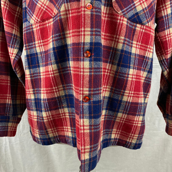 Lower Front View on Vintage Red & Blue Pendleton Board Shirt SZ L