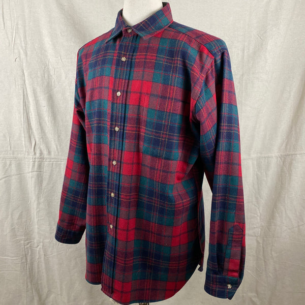 Left Angle View on Vintage Red Blue & Green Pendleton Lodge Shirt SZ L