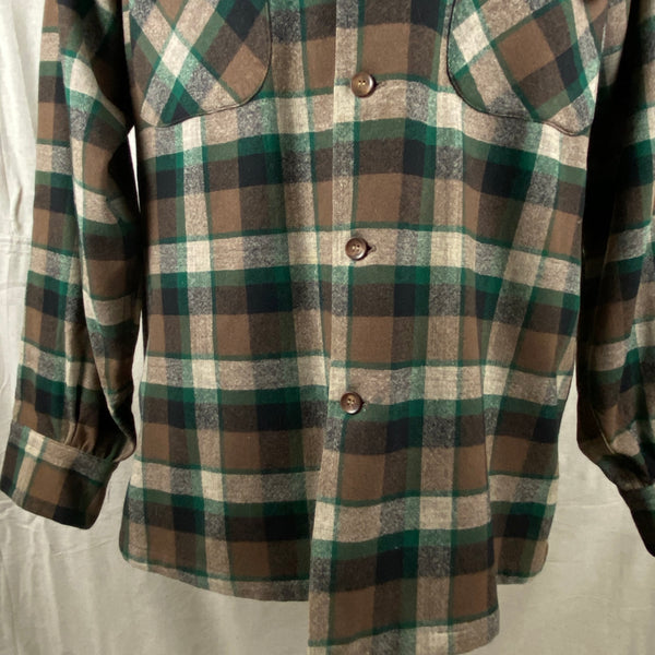 Lower Front View of Vintage Green & Brown Pendleton Board Shirt SZ M
