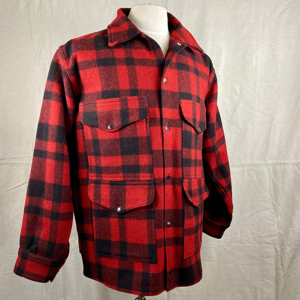 Right Angle View on Vintage Union Made Filson Red and Black Buffalo Plaid Mackinaw Cruiser