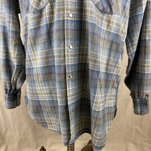 Lower Front View on Vintage Pendleton Blue Plaid High Grade Western Wear Flannel Shirt SZ XL