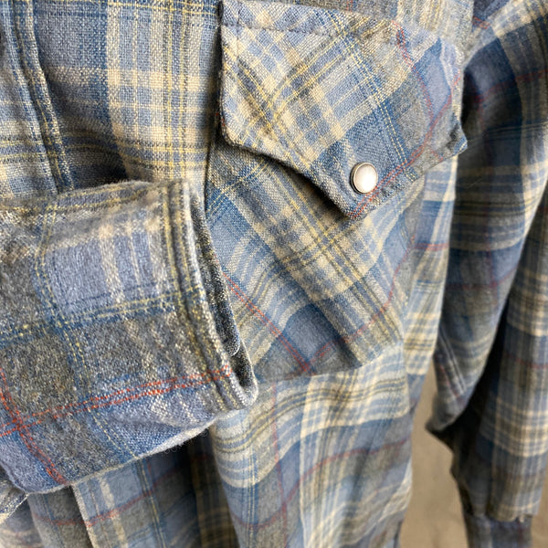 Right Cuff View on Vintage Pendleton Blue Plaid High Grade Western Wear Flannel Shirt SZ XL