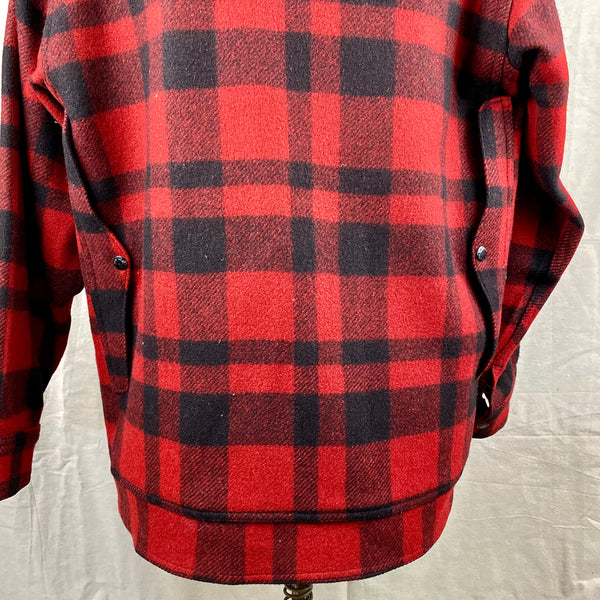 Lower Rear View on Vintage Union Made Filson Red and Black Buffalo Plaid Mackinaw Cruiser