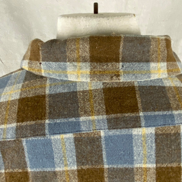 Moth Holes on Vintage Blue & Grey Pendleton Board Shirt SZ XL