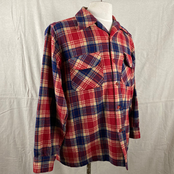 Right Angle View on Vintage Red & Blue Pendleton Board Shirt SZ L