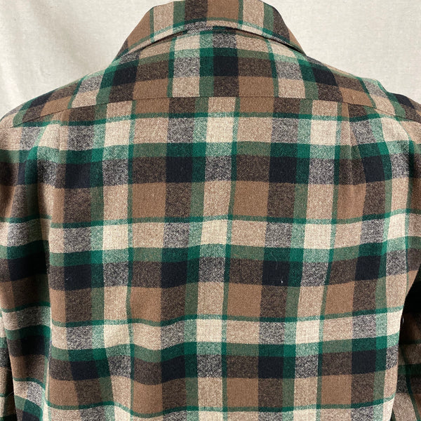 Rear Upper Shoulder View on Vintage Green & Brown Pendleton Board Shirt SZ M