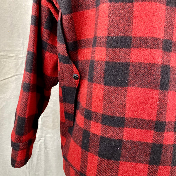 Rear Left Map Pocket View on Vintage Union Made Filson Red and Black Buffalo Plaid Mackinaw Cruiser