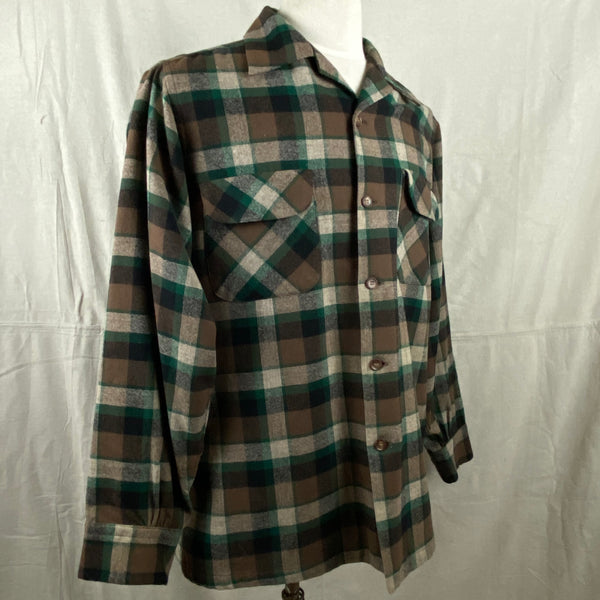 Right Angle View on Vintage Green & Brown Pendleton Board Shirt SZ M