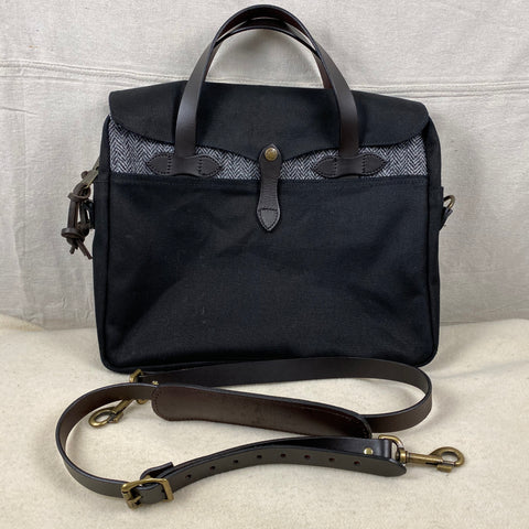 Front View of Filson Harris Tweed Original Black Rugged Twill Wool Briefcase Style 70066