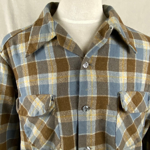 Upper Front View of Vintage Blue & Grey Pendleton Board Shirt SZ XL