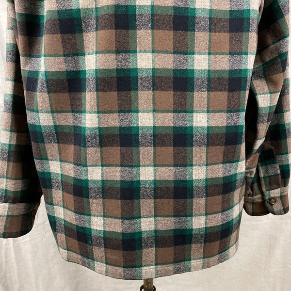 Lower Rear View on Vintage Green & Brown Pendleton Board Shirt SZ M