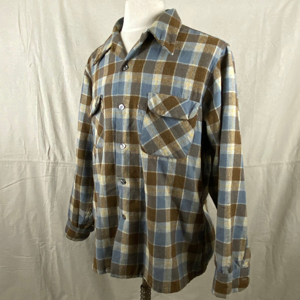 Left Angle View of Vintage Blue & Grey Pendleton Board Shirt SZ XL