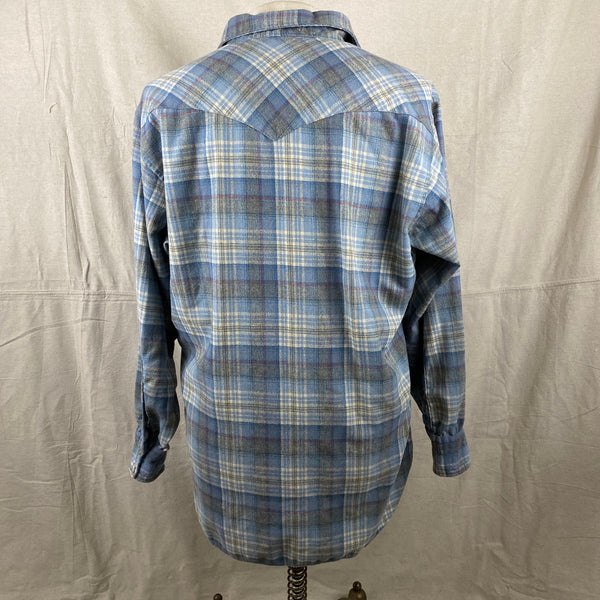 Rear View of Vintage Pendleton Blue Plaid High Grade Western Wear Flannel Shirt SZ XL