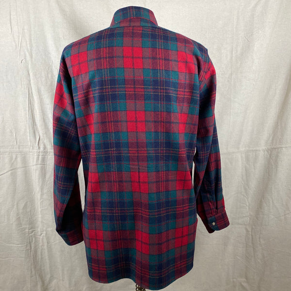 Rear View of Vintage Red Blue & Green Pendleton Lodge Shirt SZ L