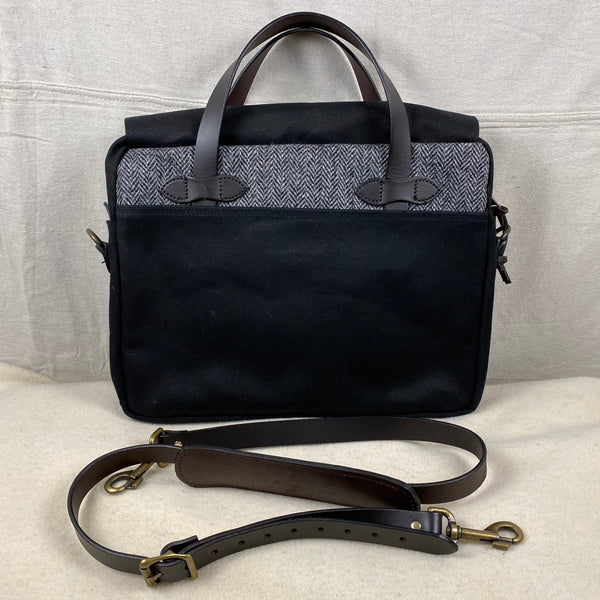 Alternate Side View of Filson Harris Tweed Original Black Rugged Twill Wool Briefcase Style 70066