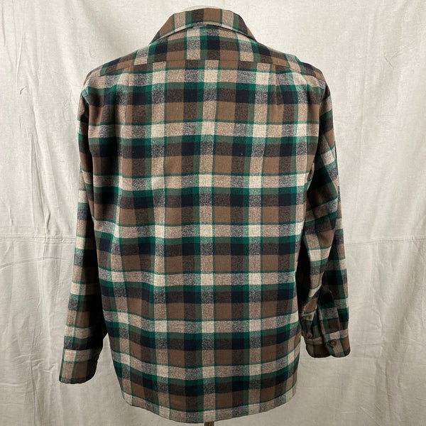 Rear View of Vintage Green & Brown Pendleton Board Shirt SZ M