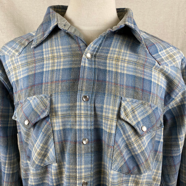 Upper Chest View of Vintage Pendleton Blue Plaid High Grade Western Wear Flannel Shirt SZ XL