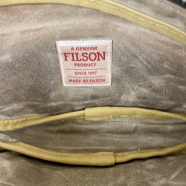 Filson Tag View of Filson Mini Dop Kit Toiletries Bag Soy Wax Finished Style 70316