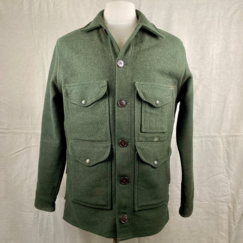Front View of Vintage Forest Green Filson Mackinaw Wool Cruiser