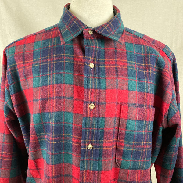 Front Upper Chest View on Vintage Red Blue & Green Pendleton Lodge Shirt SZ L