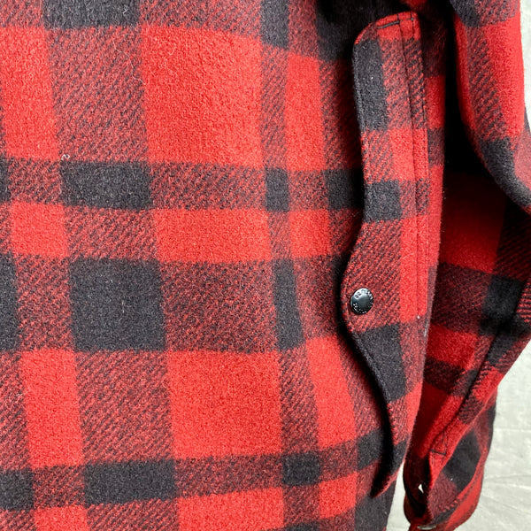 Right Rear Pocket View on Vintage Union Made Filson Red and Black Buffalo Plaid Mackinaw Cruiser
