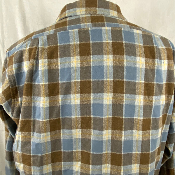 Upper Rear View of Vintage Blue & Grey Pendleton Board Shirt SZ XL