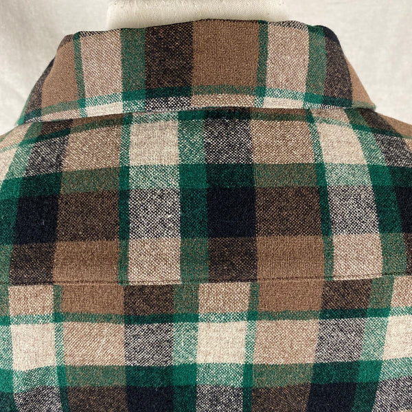 Rear Collar View on Vintage Green & Brown Pendleton Board Shirt SZ M