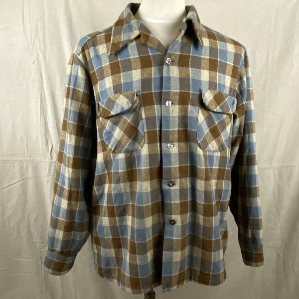 Front View on Vintage Blue & Grey Pendleton Board Shirt SZ XL