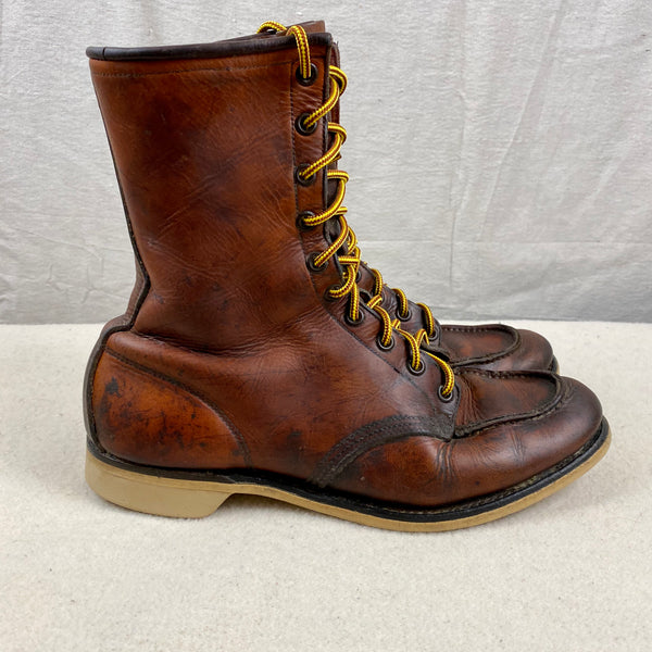 Side View of Vintage 1950s Red Wing Moc Toe 877's Rare Size 9
